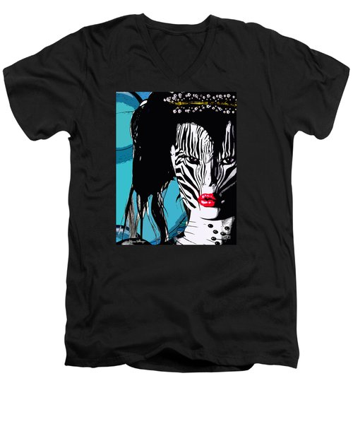 Zebra Girl Pop Art Men's V-Neck T-Shirt