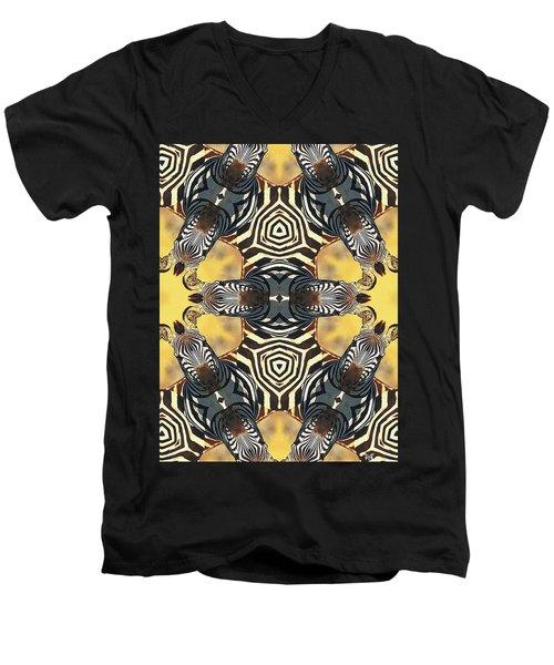 Zebra II Men's V-Neck T-Shirt by Maria Watt