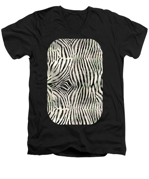 Zebra Print Men's V-Neck T-Shirt
