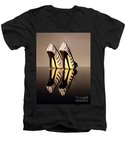 Men's V-Neck T-Shirt featuring the photograph Zebra Print Stiletto by Terri Waters