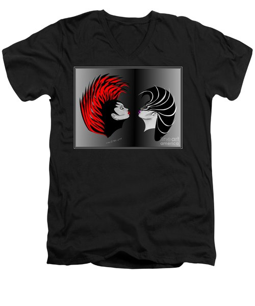 Men's V-Neck T-Shirt featuring the drawing Zee Wild by Marianne NANA Betts