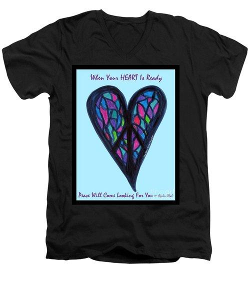 Zen Heart Peace Puzzle Men's V-Neck T-Shirt