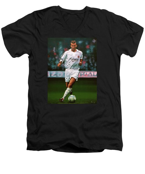 Zidane At Real Madrid Painting Men's V-Neck T-Shirt by Paul Meijering