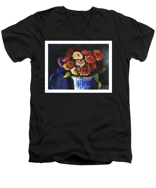 Men's V-Neck T-Shirt featuring the painting Zinnias by Marlene Book