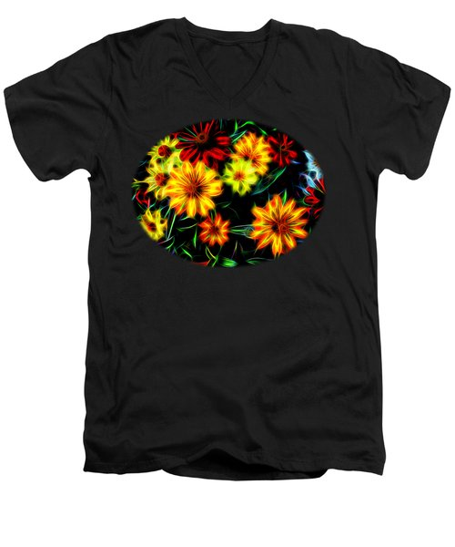 Men's V-Neck T-Shirt featuring the digital art Zinnias With Zest by Nick Kloepping