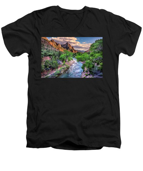 Zion Canyon At Sunset Men's V-Neck T-Shirt