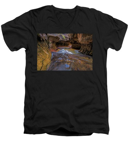 Men's V-Neck T-Shirt featuring the photograph Zion Subway by Jonathan Davison