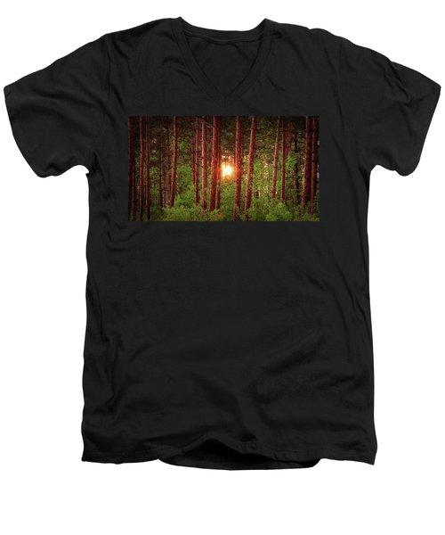 010 - Pine Sunset Men's V-Neck T-Shirt