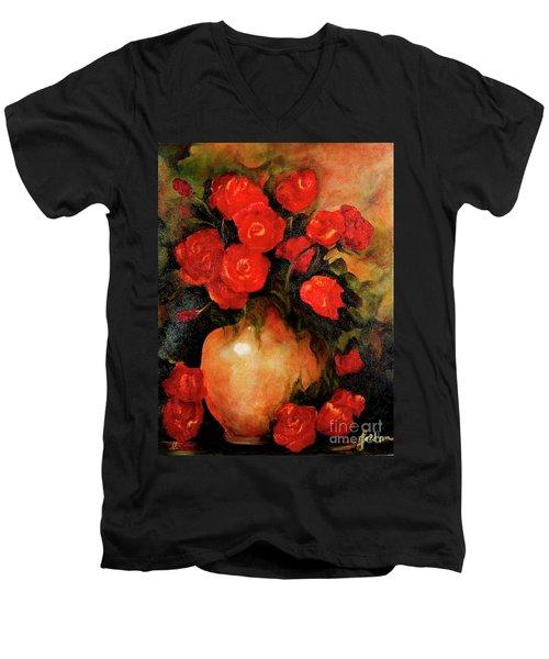 Antique Red Roses Men's V-Neck T-Shirt