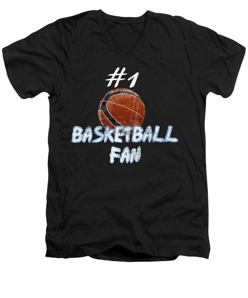 #1 Basketball Fan Men's V-Neck T-Shirt