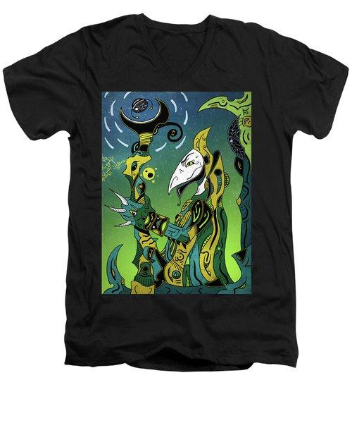 Men's V-Neck T-Shirt featuring the digital art Birdman by Sotuland Art