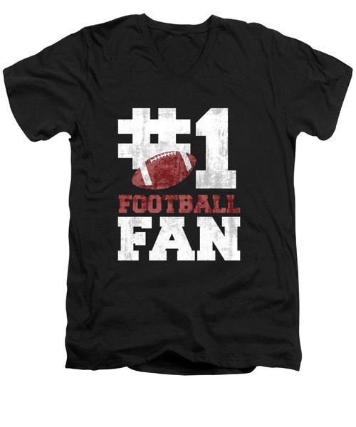 #1 Football Fan Men's V-Neck T-Shirt