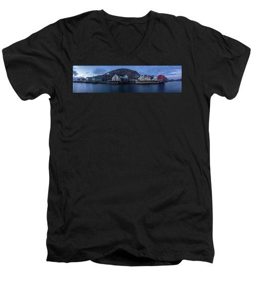 Norwegian Seaside Town Nyksund Men's V-Neck T-Shirt