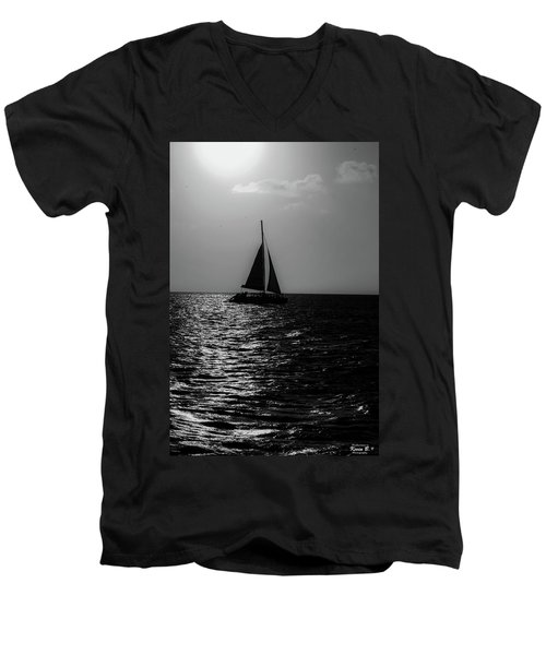 Sailing Into The Sunset Black And White Men's V-Neck T-Shirt