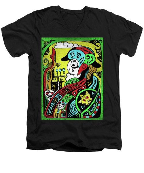 Men's V-Neck T-Shirt featuring the digital art Emperor by Sotuland Art