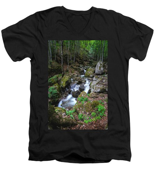 Bela River, Balkan Mountain Men's V-Neck T-Shirt