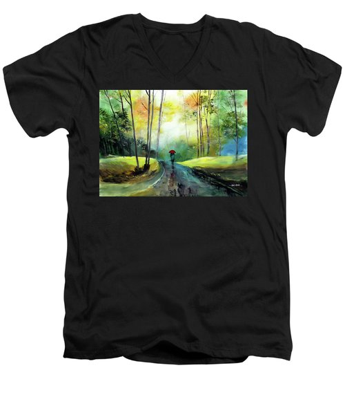 A Walk In The Rain Men's V-Neck T-Shirt