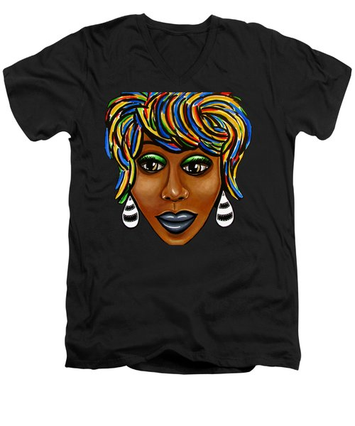 Abstract Glo - Black Woman Retro Pop Art - Ai P. Nilson Men's V-Neck T-Shirt
