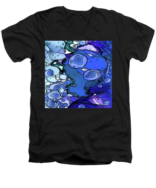 Men's V-Neck T-Shirt featuring the painting Abstract Ink 31 by Amy E Fraser