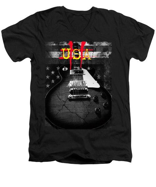 Abstract Relic Guitar Usa Flag Men's V-Neck T-Shirt