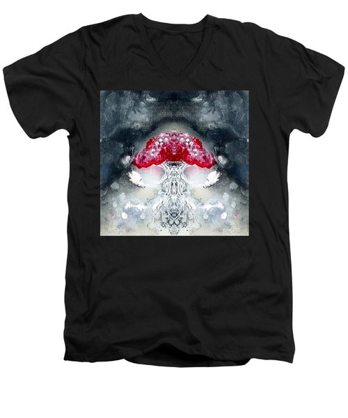 Men's V-Neck T-Shirt featuring the painting Amanita  by 'REA' Gallery