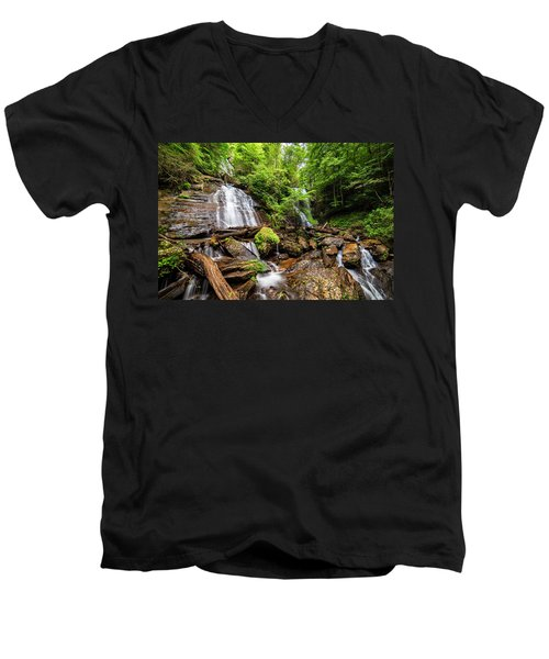 Men's V-Neck T-Shirt featuring the photograph Anna Ruby Falls by Andy Crawford