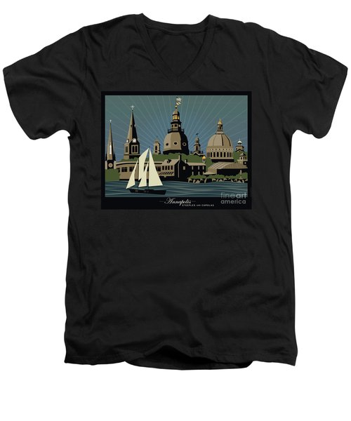 Annapolis Steeples And Cupolas Serenity With Border Men's V-Neck T-Shirt