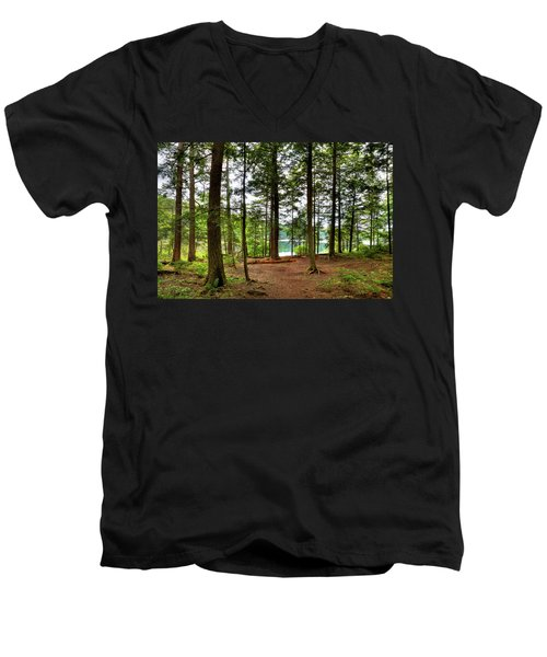 Men's V-Neck T-Shirt featuring the photograph Approaching Sis Lake by David Patterson