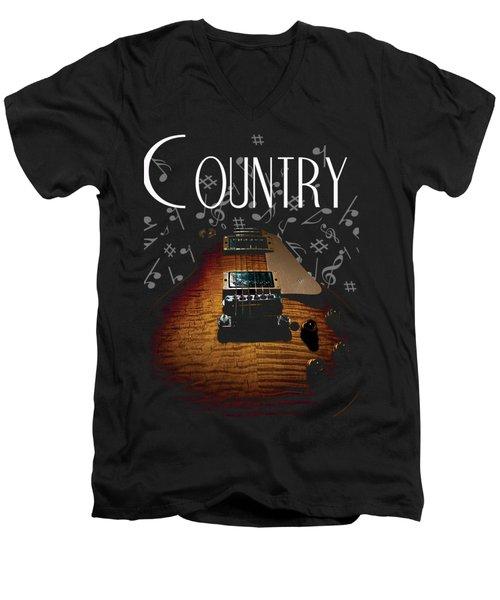 Color Country Music Guitar Notes Men's V-Neck T-Shirt