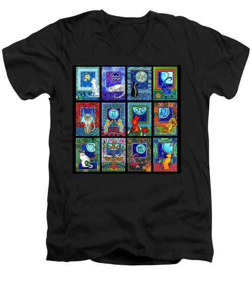 Astrology Cat Zodiacs Men's V-Neck T-Shirt