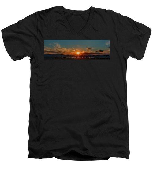 Attean Pond Sunset Men's V-Neck T-Shirt
