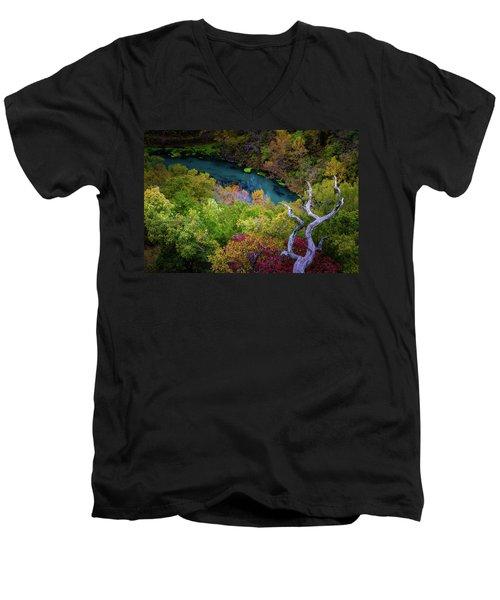 Autumn At Ha Ha Tonka State Park Men's V-Neck T-Shirt