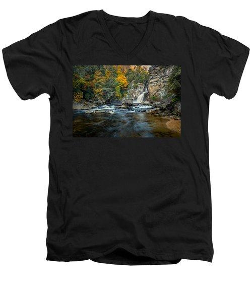 Autumn At Linville Falls - Linville Gorge Blue Ridge Parkway Men's V-Neck T-Shirt
