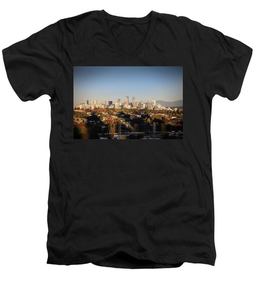 Autumn At The City Men's V-Neck T-Shirt