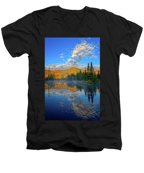Autumn Sky, Mountain Pond Men's V-Neck T-Shirt