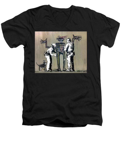 Banksy Coppers Pat Down Men's V-Neck T-Shirt