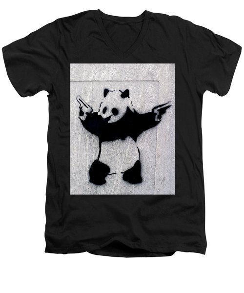 Banksy Panda Men's V-Neck T-Shirt