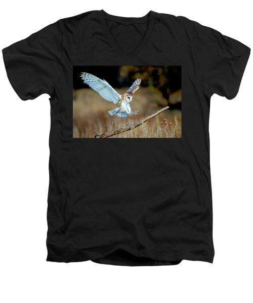 Barn Owl Landing Men's V-Neck T-Shirt