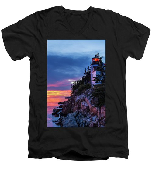 Bass Harbor Head Lighthouse At Twilight Men's V-Neck T-Shirt