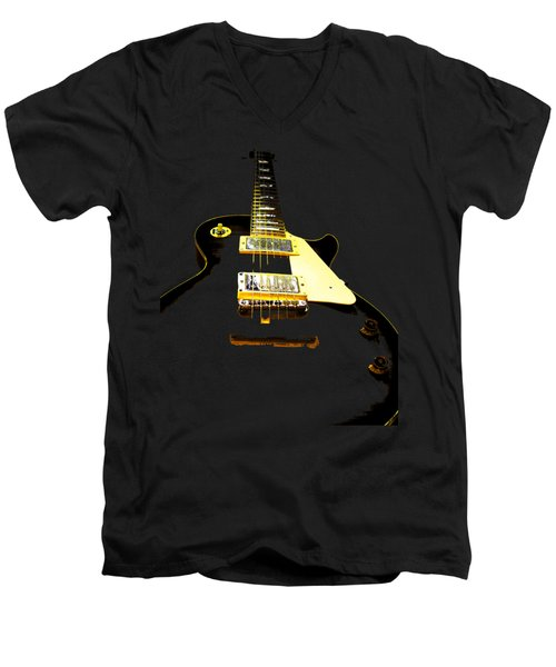 Black Guitar With Gold Accents Men's V-Neck T-Shirt