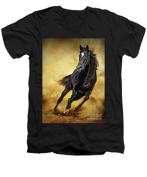 Men's V-Neck T-Shirt featuring the photograph Black Horse Running Wild by Dimitar Hristov