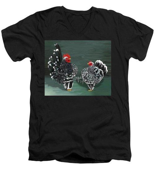 Black Mottled Serama Pair Men's V-Neck T-Shirt