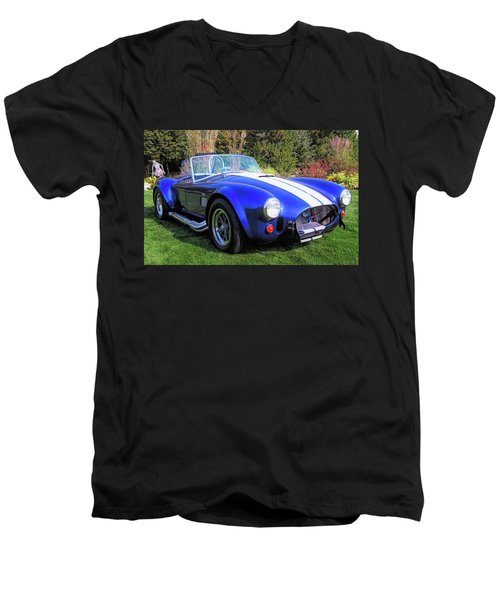 Blue 427 Shelby Cobra In The Garden Men's V-Neck T-Shirt