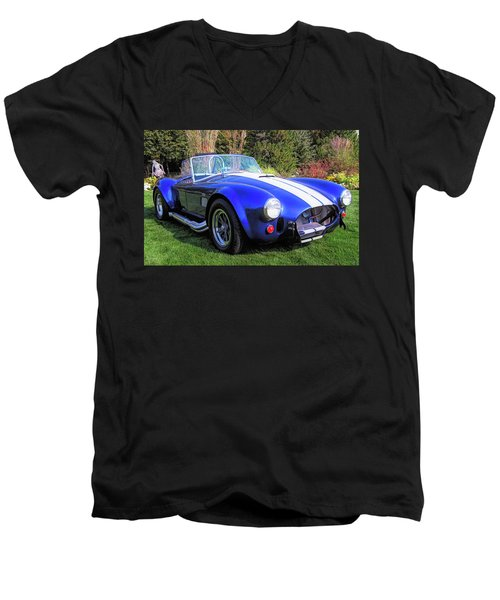 Blue 427 Shelby Cobra In The Garden Men's V-Neck T-Shirt