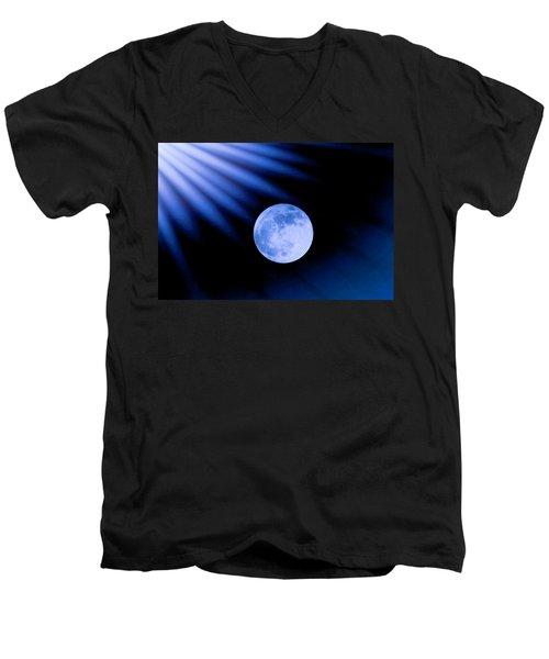 Blue Rays On The Moon Men's V-Neck T-Shirt