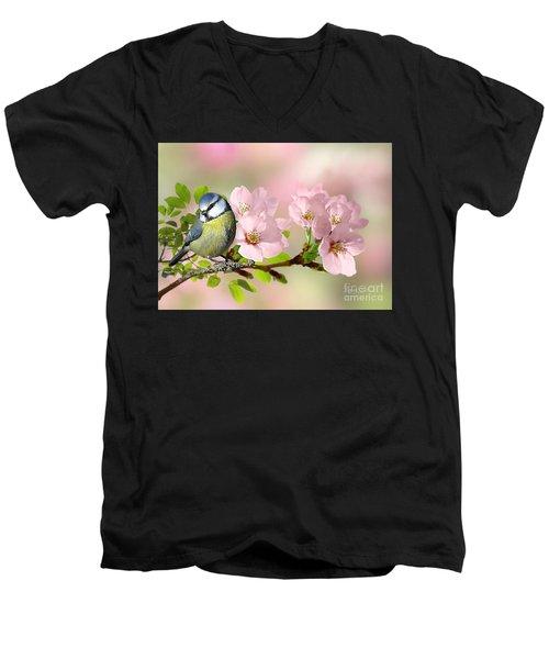 Blue Tit On Apple Blossom Men's V-Neck T-Shirt