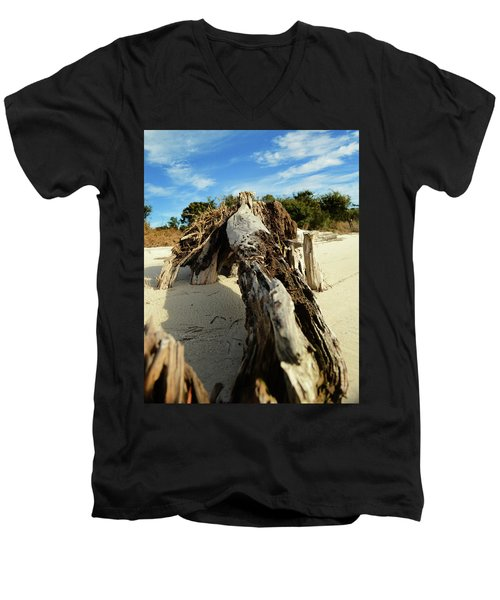 Branch On Beach Men's V-Neck T-Shirt