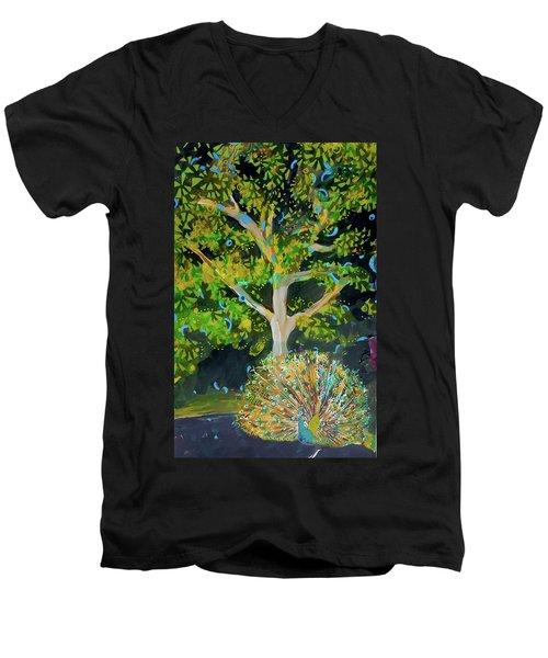 Branching Out Peacock Men's V-Neck T-Shirt