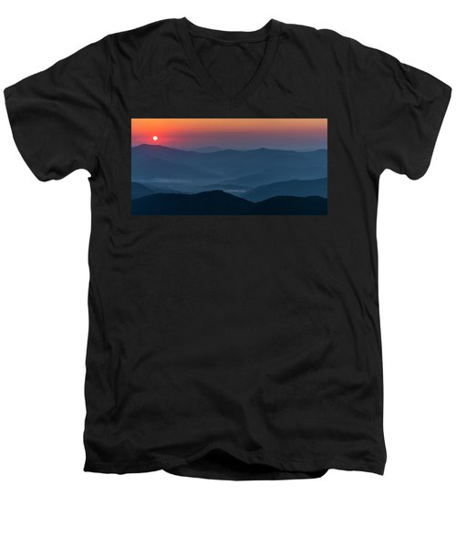 Men's V-Neck T-Shirt featuring the photograph Brasstop Bald Sunrise Panorama by Andy Crawford