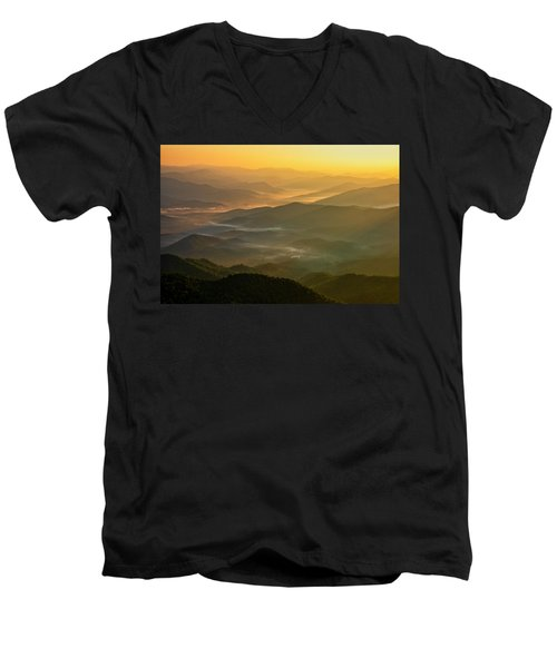 Men's V-Neck T-Shirt featuring the photograph Brasstown Bald Mists by Andy Crawford